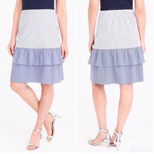 ✨SALE✨J. Crew: Blue Striped Tiered Ruffle Skirt